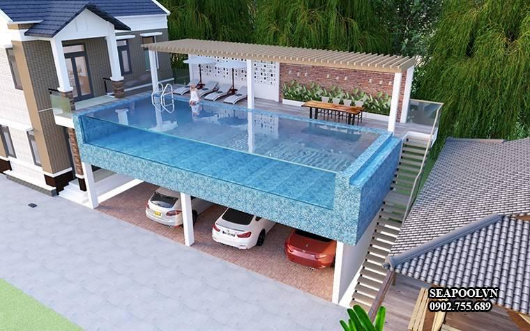 Bản vẽ thiết kế 3D tổng thể cho hồ bơi