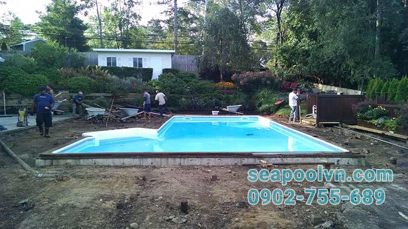 Bể bơi composite đúc sẵn thi công lắp đặt