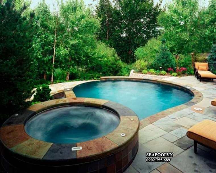 Bồn Massage Xây Jacuzzi Kết Hợp Bể Bơi Ngoài Trời