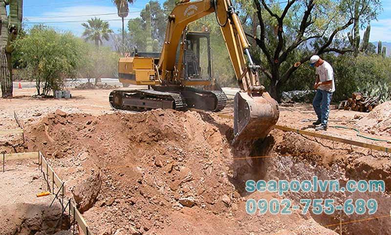 giai đoạn đào đất tạo hình dáng ban đầu