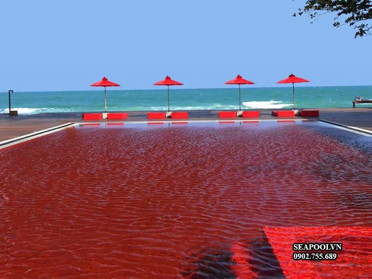 Mẫu Thiết Kế Hồ Bơi Bằng Gạch ốp Lát Màu đỏ độc đáo