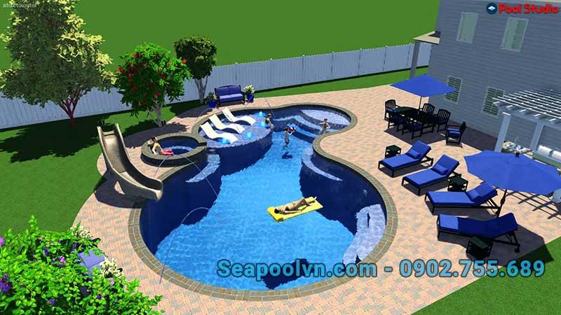 Phối cảnh 3d cho hồ bơi dịch vụ