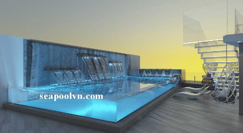 Phối cảnh thiết kế 3D hồ bơi bể bơi kính do kiến trúc sư SEAPOOLVN thiết kế