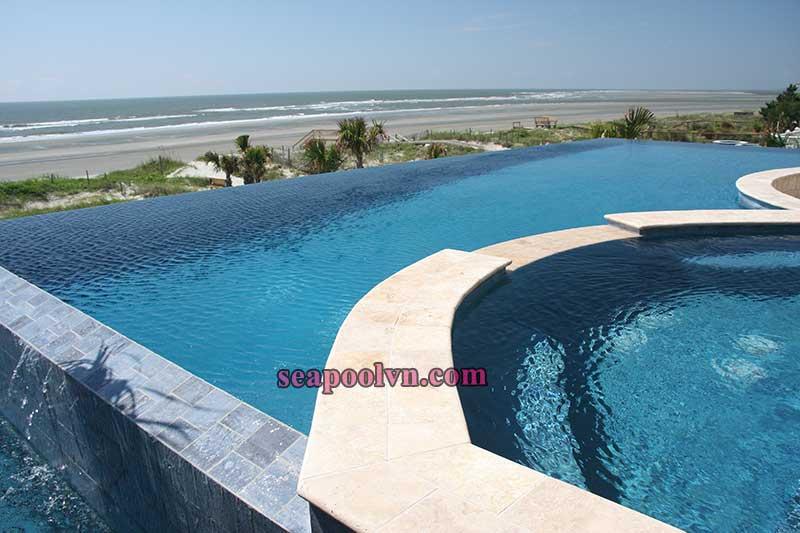 Thi công hồ bơi tràn vô cực tại bãi biển Nha Trang