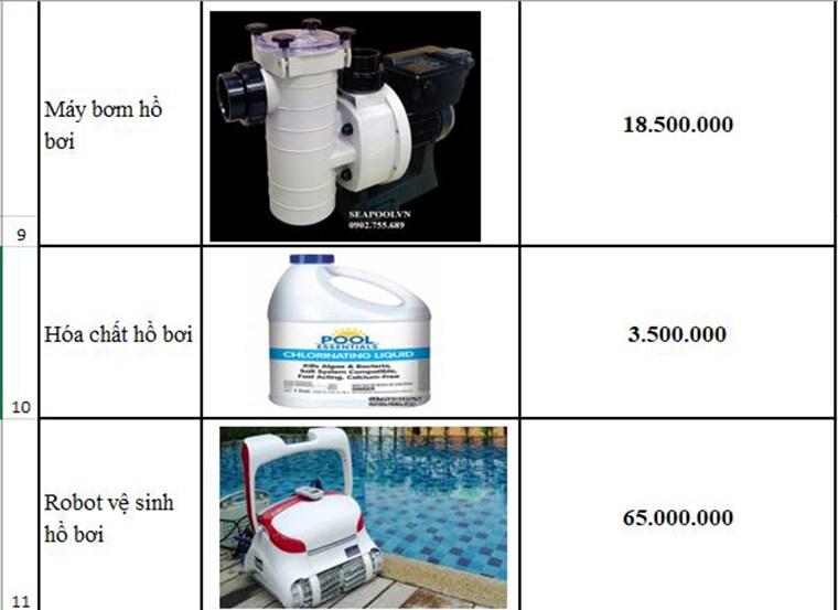 Giá Thiết Bị Bể Bơi Rẻ