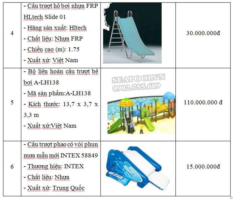 Bảng Giá Máng Trượt Bể Bơi Các Loại