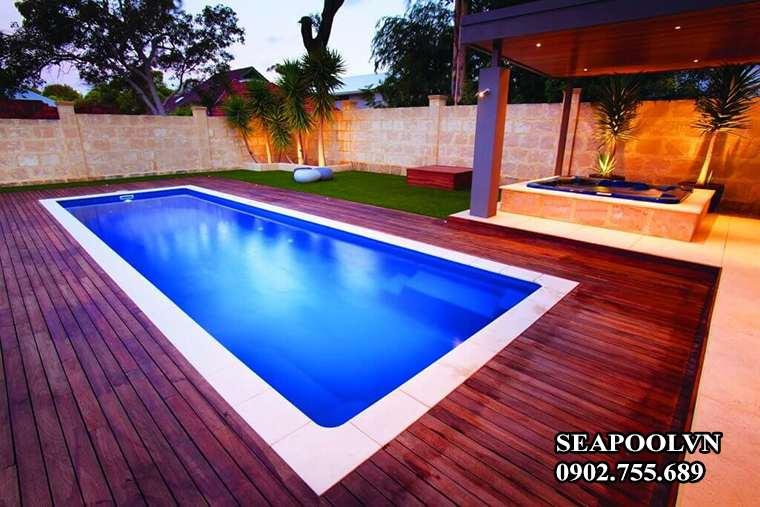 Mẫu Sàn Nhựa Giả Gỗ Cho Bể Bơi Gia đình đẹp Hiện đại
