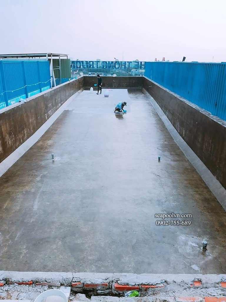 quy trình chuẩn bị mặt bằng thi công hồ bơi Composite sân thượng huyện bình chánh
