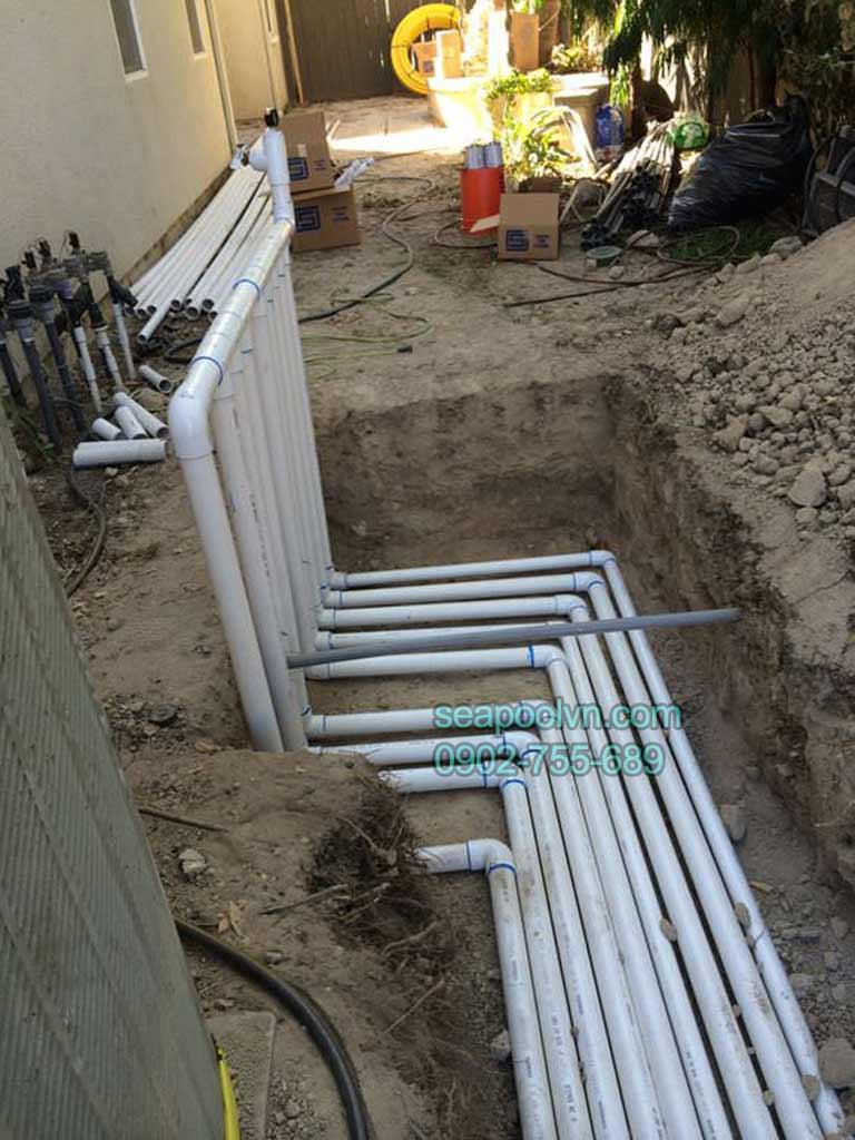 Chọn vị trí thi công hệ thống đường ống cho máy lọc hồ bơi tuần hoàn